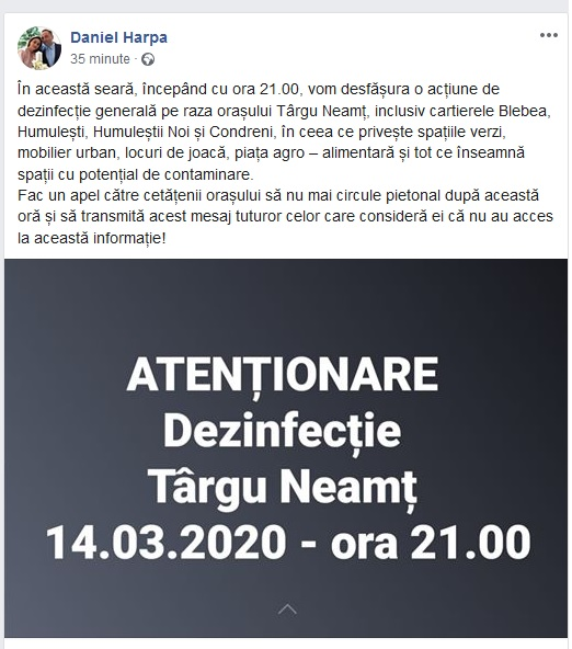 ATENȚIE Dezinfecție Târgu Neamț  14.03.2020 – ora 21.00